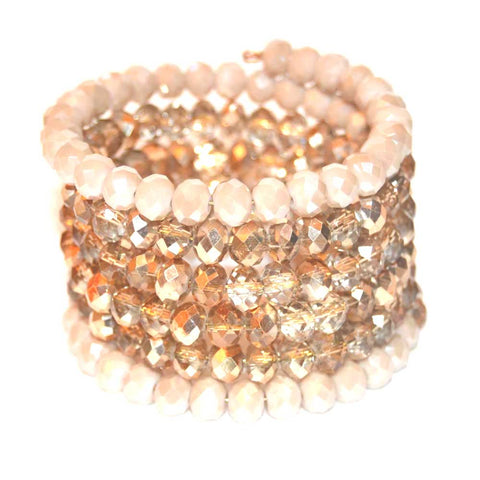 Cream Starlight Gold Czech Crystal Bracelet