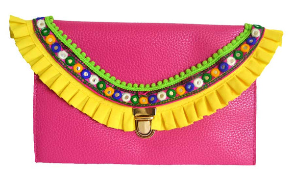 Yellow Flares Hot Pink Clutch accentuated by Colorful Trim