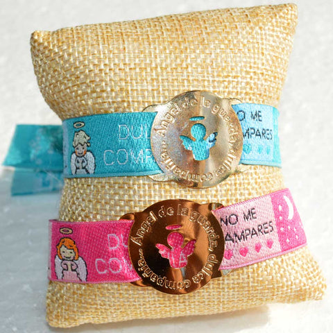 Caricature Angel de la Guarda Prayer Bracelet with Gold Filled Accent Medal
