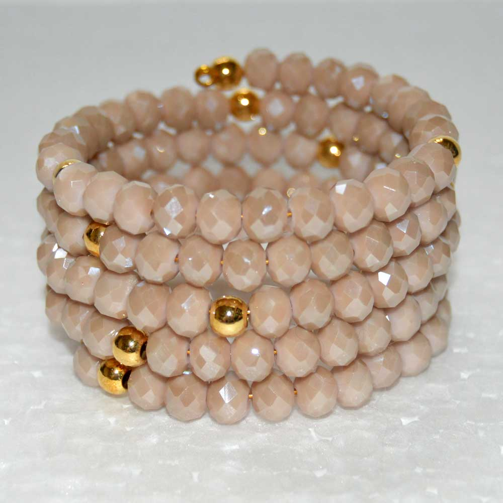 Rose Beige Czech Crystal Spiral Wrap Around Bracelet