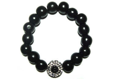 Black Wood Bead Men Bracelet