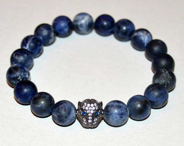 Panther Sodalite Stretch Bracelet for Men
