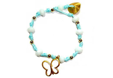 Beautiful Butterfly Light Blue Knotted Bracelet