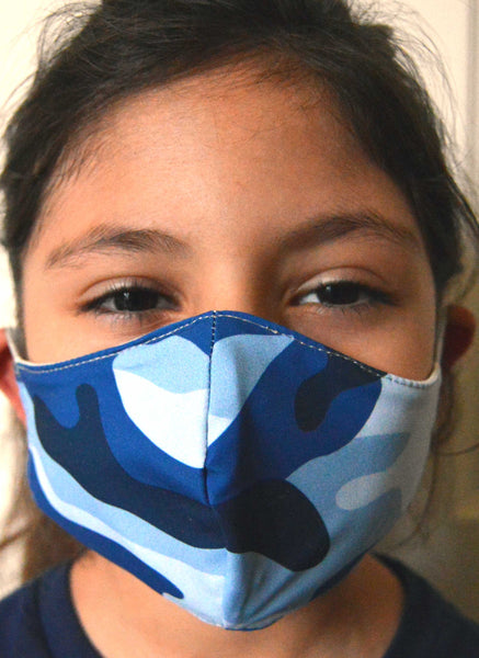Blue Camo Washable Fabric Face Mask