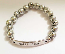 Load image into Gallery viewer, Silver Plated Lava Stone Carpe Diem Bracelet