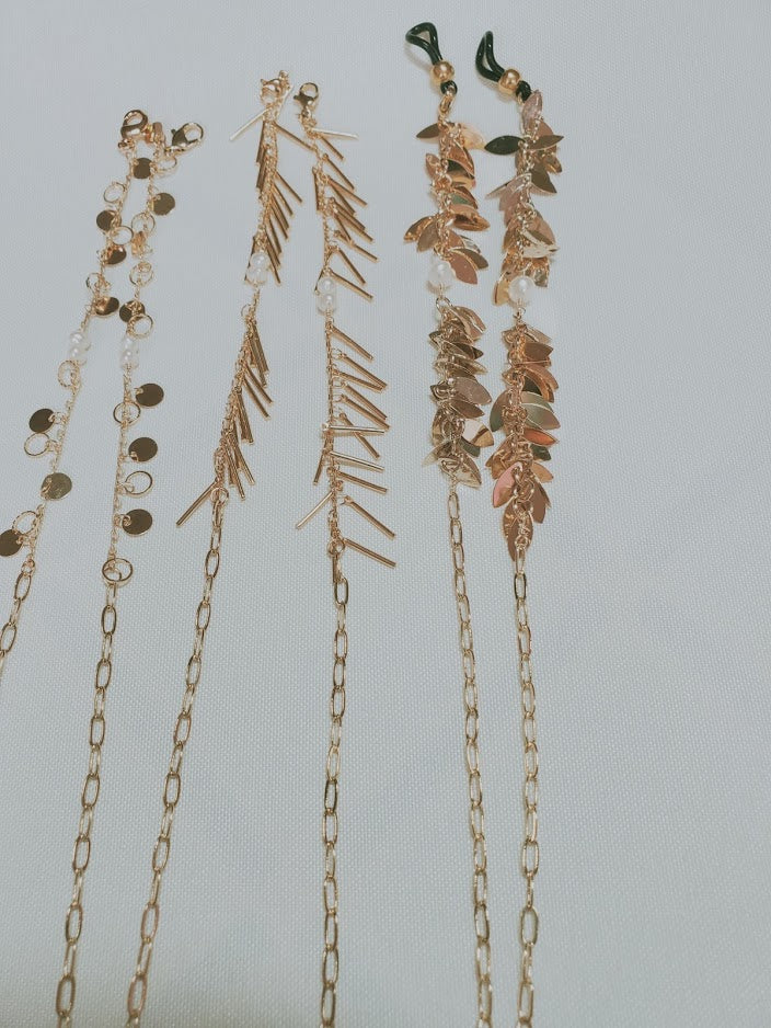 Golden and Mother of Pearl Face Mask Chain