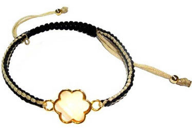 Beige and Black Four Leaf Clover Macrame Bracelet