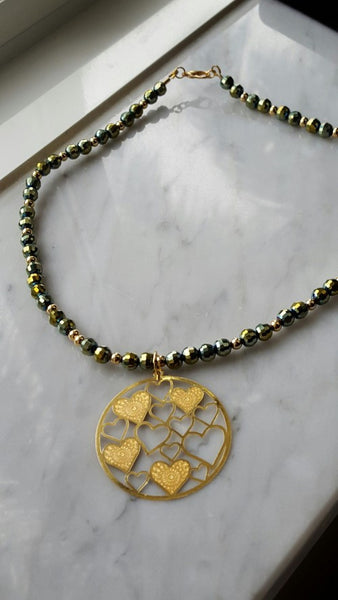 Iridescent Green Czech Crystal Filigree Heart Necklace