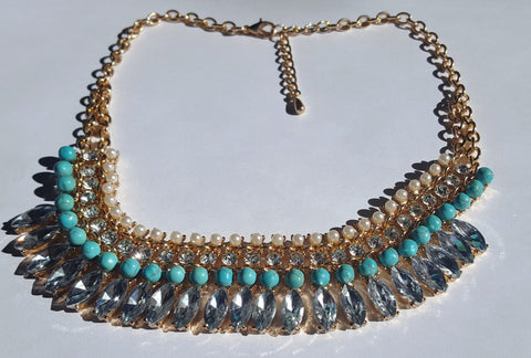 Tribal Chic Turquoise and Pearls Collar