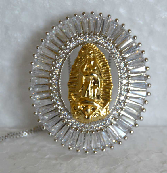 Oval Gold Plated CZ Our Lady of Guadalupe Pendant Necklace