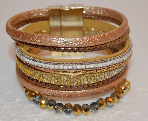 Multi Strand Bracelet Gold and Czech Crystal Bracelet