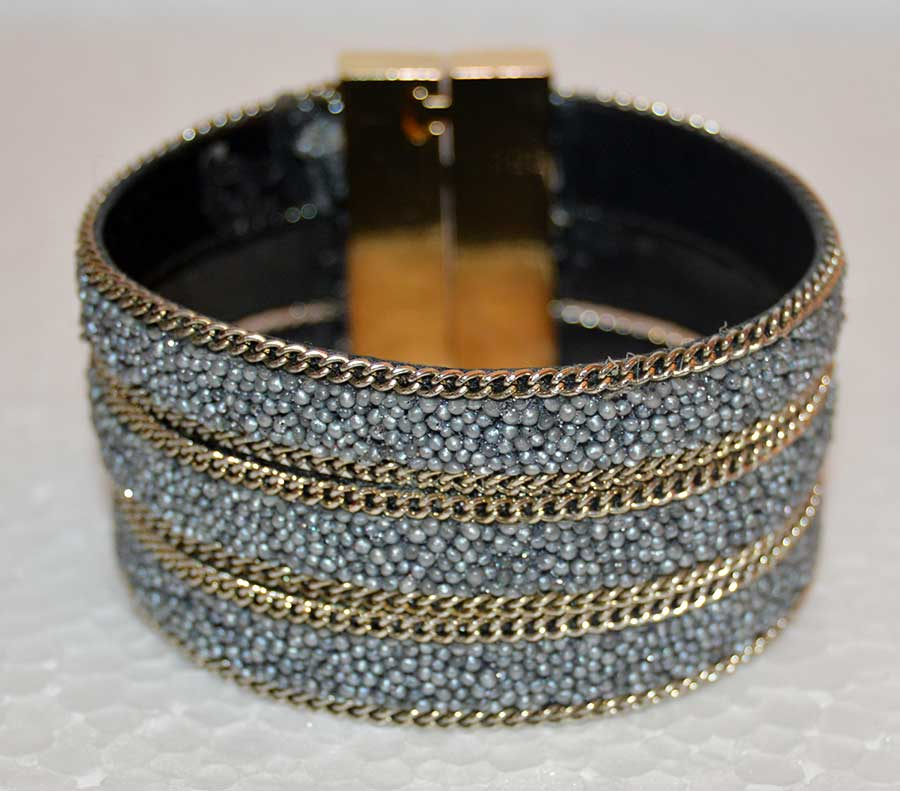 Golden Micro Beaded Cuff Bracelet