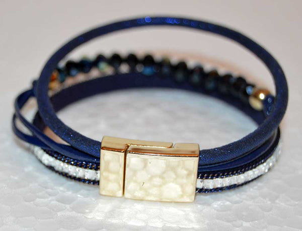 Multi Strand Blue Leather Bracelet with Czech Crystal Beads and Rhinestones