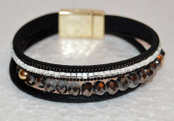 Multi Strand Black Leather Bracelet with Czech Crystal Beads and Rhinestones