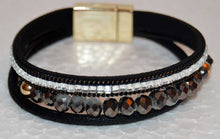 Load image into Gallery viewer, Multi Strand Black Leather Bracelet with Czech Crystal Beads and Rhinestones