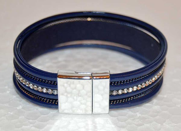 Multi Strand Blue Leather Bracelet with Rhinestones