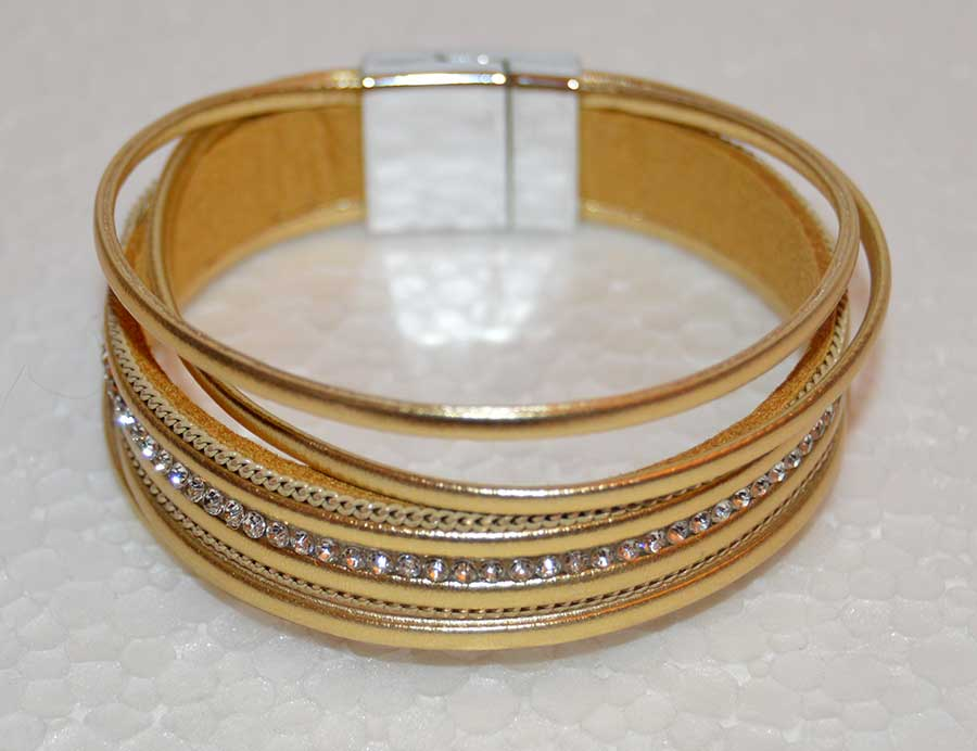 Multi Strand Gold Leather Bracelet with Rhinestones