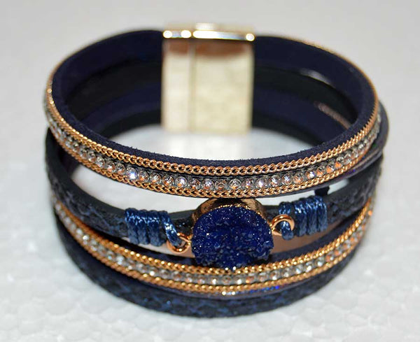 Multi Strand Blue Leather Bracelet Rhinestones and a Druzy