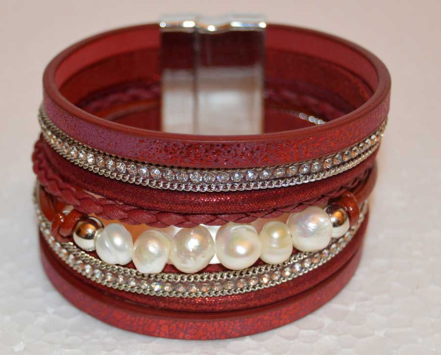 Multi Strand Burgandy Bracelet with Freshwater Pearl