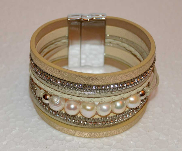 Multi Strand Gold and Freshwater Pearl Bracelet
