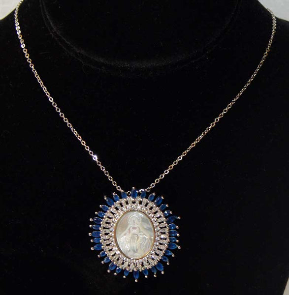 Large Oval Double Row Virgin Mary Pendant Necklace - Blue Sapphire