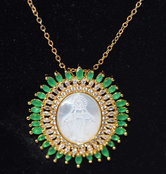 Large Oval Double Row Virgin Mary Pendant Necklace - Emerald Green