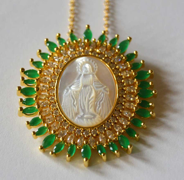 Large Oval Double Row Virgin Mary Pendant Necklace