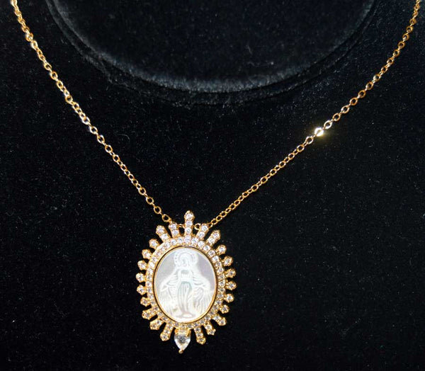Oval Gold Plated CZ Mother of Pearl Miraculous Pendant Necklace