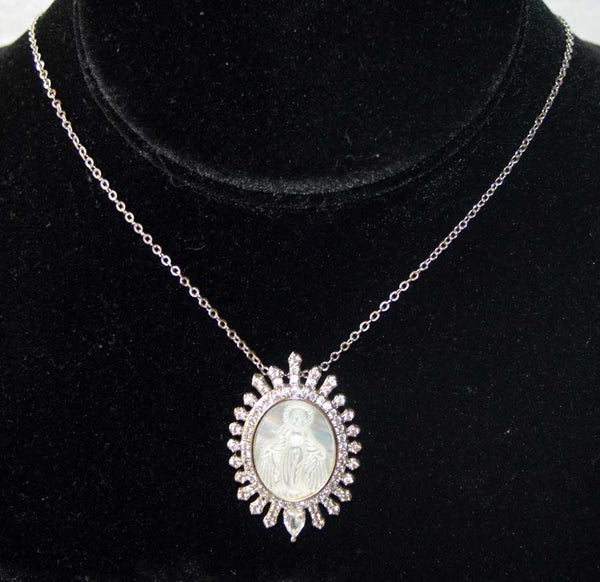 Oval Silver Plated CZ Mother of Pearl Miraculous Pendant Necklace
