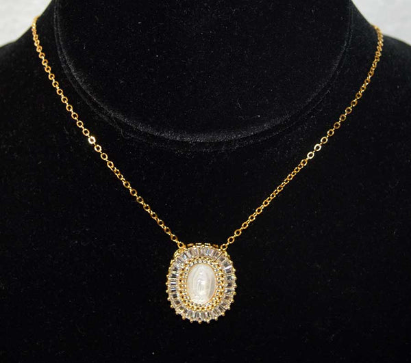 Gold Plated CZ Mother of Pearl Virgin Mary Pendant Necklace