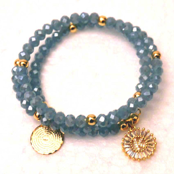 Caribean Blue Czech Crystal Memory Wire Bracelet