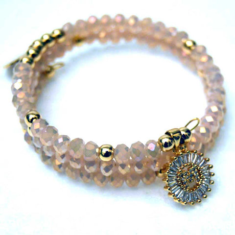 Rose Water Opal Czech Crystal Memory Wire Bracelet