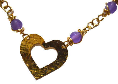 Heart 14k Goldfilled Wire Wrapped Lavender Agate Necklace
