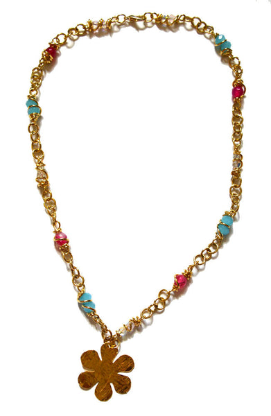 Flower 14k Gold Filled Wire Wrapped Crystals Necklace