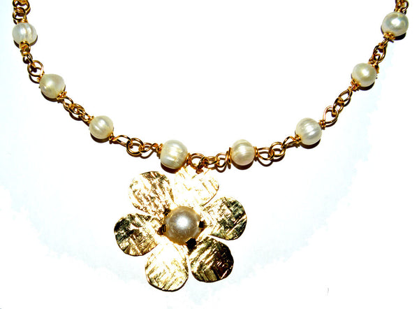 Flower 14k Gold Filled Wire Wrapped Fresh Water Pearls Necklace