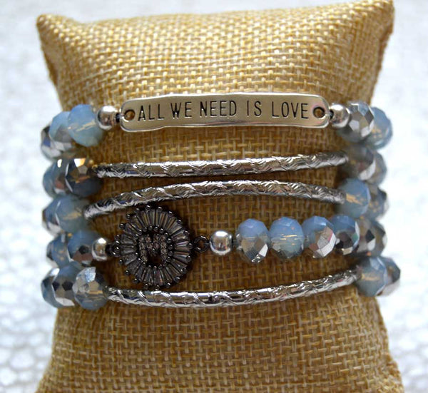 Silverplated Light Blue Ab Crystal Bracelets Set