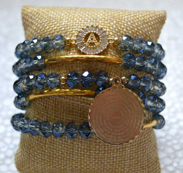 Goldplated Iridiscent Blue Crystal Bracelet Set