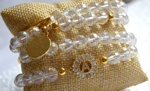 AB Czech Crystal Goldplated Bracelet Set