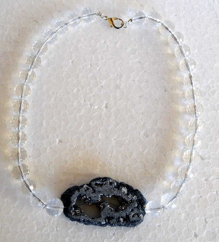 Faceted Clear Czech Crystal Quartz Druzy Necklace