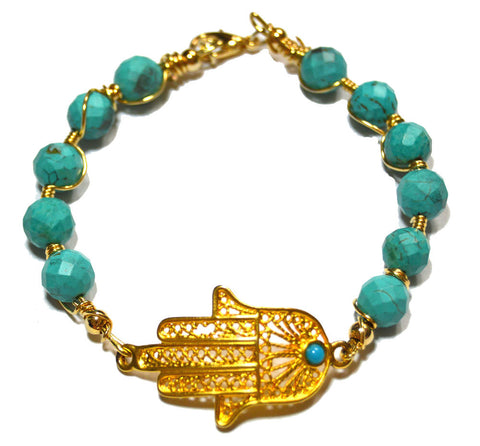 Hamsa Hand Wire Wrapped Gold-filled Bracelet