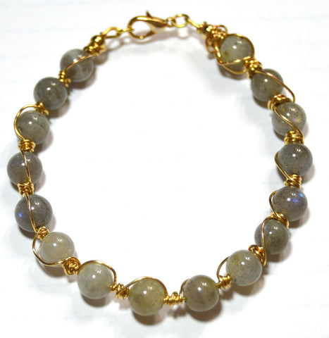 Labradorite Wire Wrapped Gold-filled Bracelet