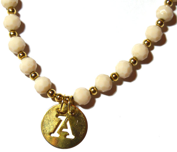 "Cream Color Czech Crystal Necklace ""Letter A"" Disk Connector Pendant"