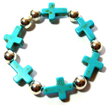 Load image into Gallery viewer, Turquoise Mini Sideways Cross Bracelet