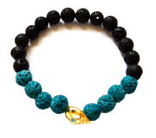Load image into Gallery viewer, Skull Onyx and Lava Bead Bracelet