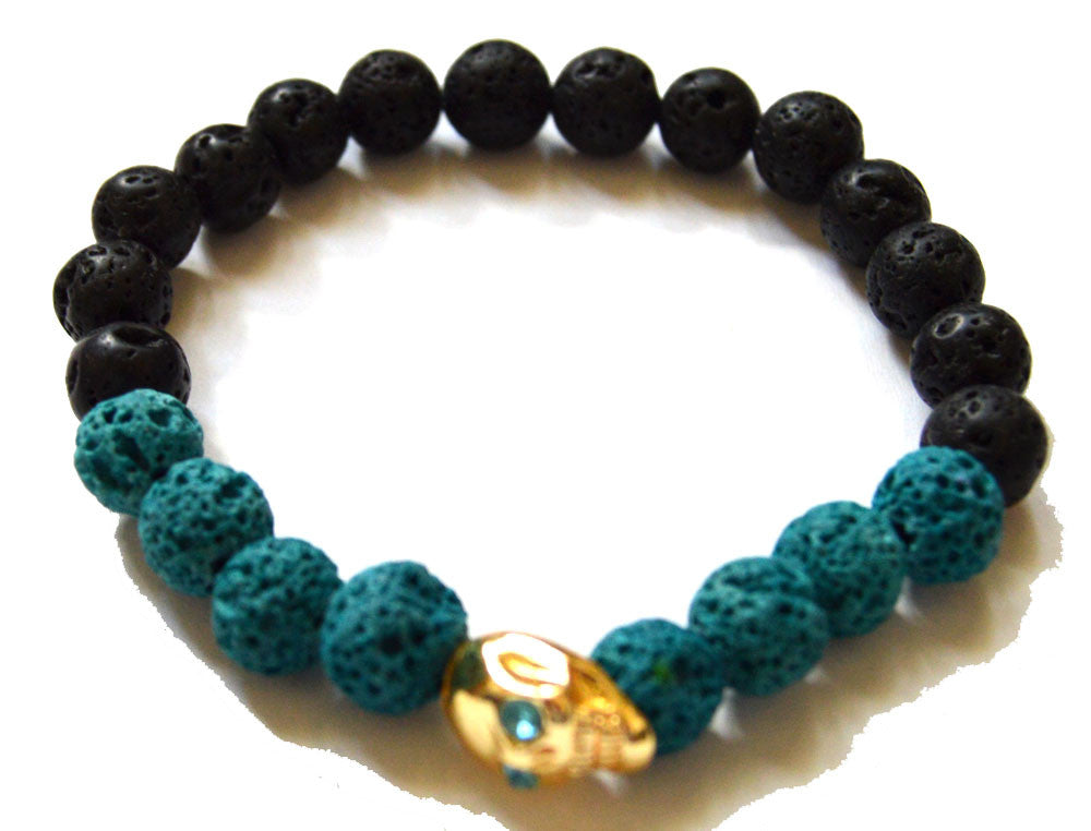 Skull Onyx and Lava Bead Bracelet