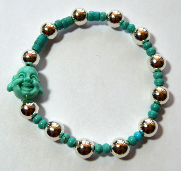 Happy Buddha Turquoise and Silver Bracelet
