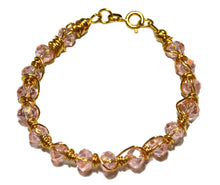 Load image into Gallery viewer, Gold-filled Light Pink Czech Crystal Wire Wrapped Bracelet for Girls