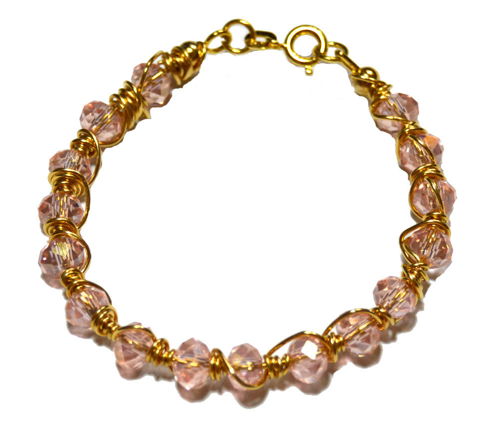 Gold-filled Light Pink Czech Crystal Wire Wrapped Bracelet for Girls