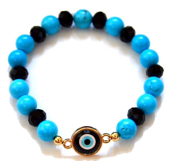 Turquoise and Czech Crystal with a Navy Blue Evil Eye Bracelet