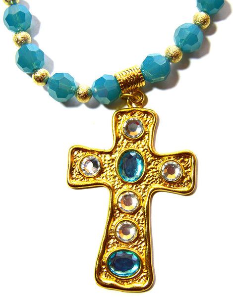 Czech Crystal Cross Collar Necklace